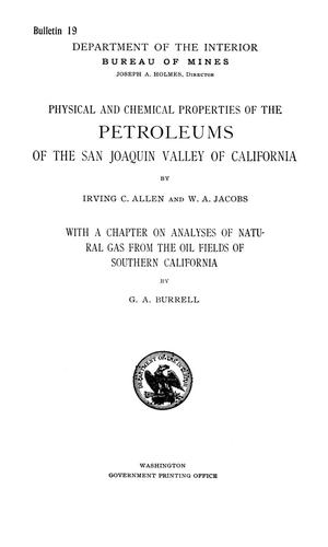 Primary view of object titled 'Physical and Chemical Properties of the Petroleums of the San Joaquin Valley of California'.