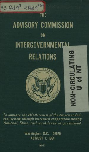 Primary view of object titled 'The Advisory Commission on Intergovernmental Relations.'.