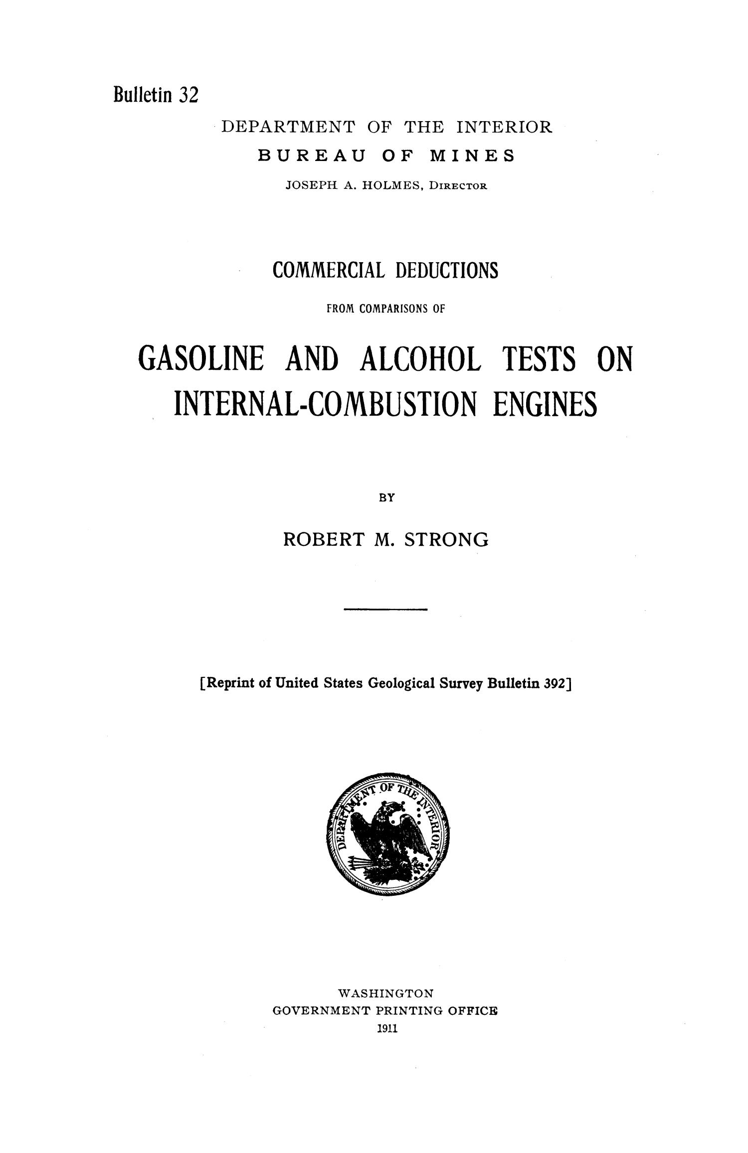 Commercial Deductions from Comparisons of Gasoline and Alcohol Tests on Internal-Combustion Engines                                                                                                      1