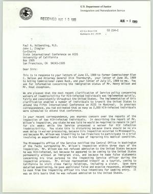 Primary view of object titled '[Letter from Richard Norton to Paul Voldberding and John Ziegler, August 1989]'.