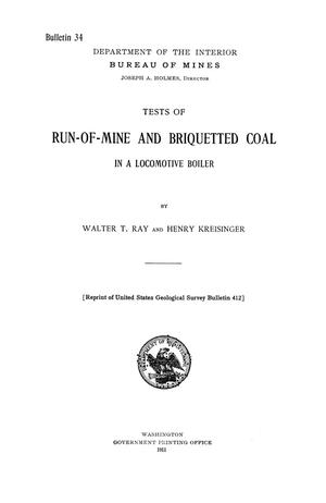 Primary view of object titled 'Tests of Run-of-Mine and Briquetted Coal in a Locomotive Boiler'.