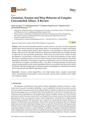Primary view of object titled 'Corrosion, Erosion andWear Behavior of Complex Concentrated Alloys: A Review'.