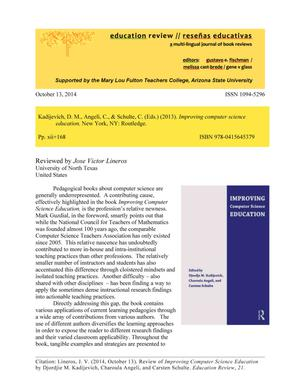 Primary view of object titled 'Book Review: Improving Computer Science Education by D. M. Kadijevich, C. Angeli, and C. Schulte.'.