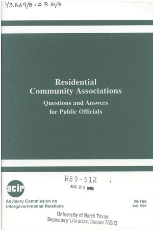 Residential community associations : questions and answers for public officials