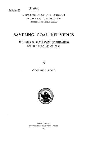 Primary view of object titled 'Sampling Coal Deliveries and Types of Government Specifications for the Purchase of Coal'.