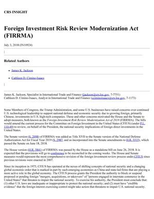 Primary view of object titled 'Foreign Investment Risk Review Modernization Act (FIRRMA)'.