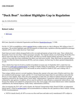 """""""Duck Boat"""" Accident Highlights Gap in Regulation"""