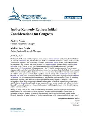 Primary view of object titled 'Justice Kennedy Retires: Initial Considerations for Congress'.