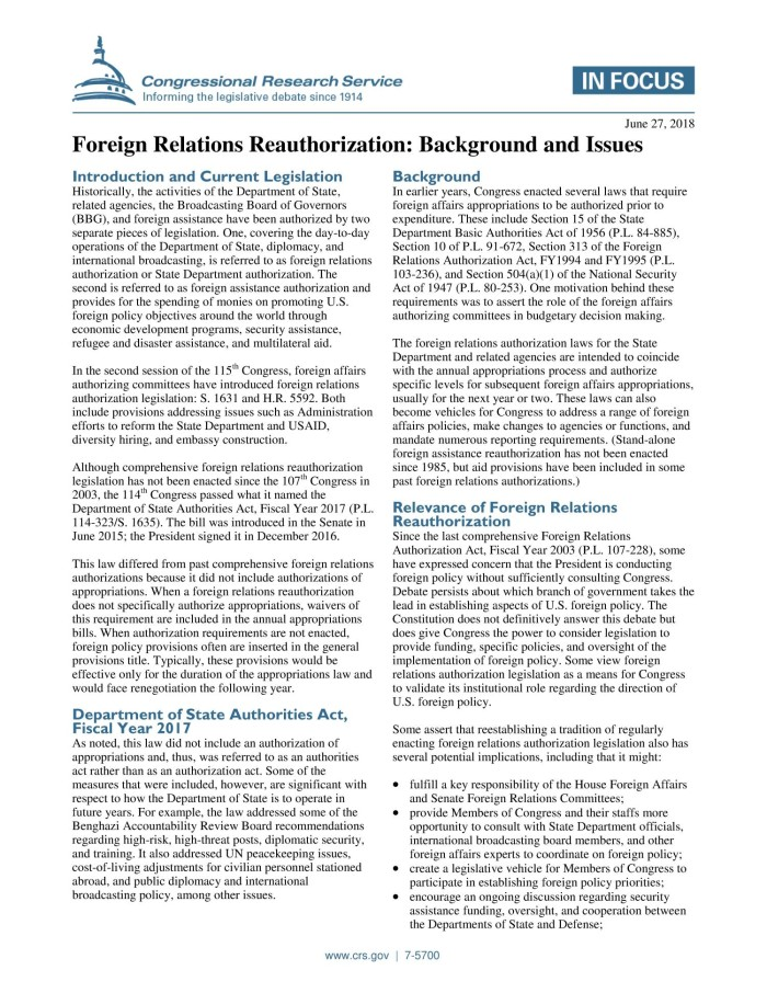 Foreign Relations Reauthorization: Background and Issues - Digital