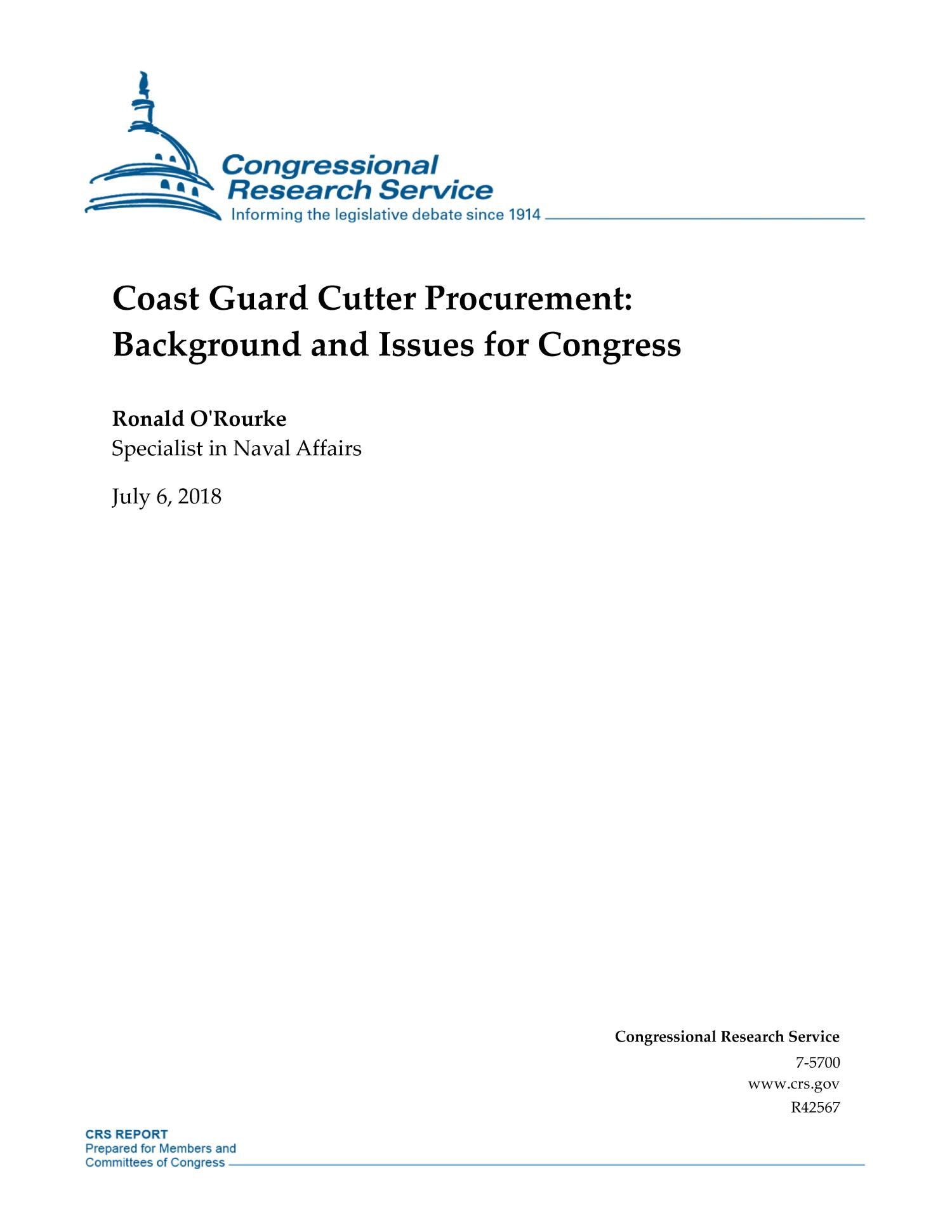 Coast Guard Cutter Procurement: Background and Issues for Congress                                                                                                      [Sequence #]: 1 of 48