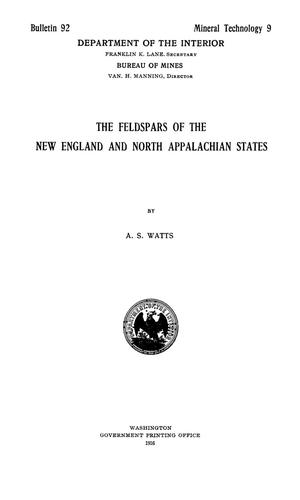 Primary view of object titled 'The Feldspars of the New England and North Appalachian States'.