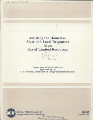Primary view of object titled 'Assisting the homeless : state and local responses in an era of limited resources'.