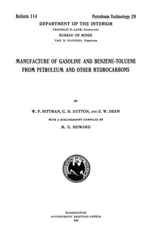 Primary view of object titled 'Manufacture of Gasoline and Benzene-Toluene from Petroleum and Other Hydrocarbons'.