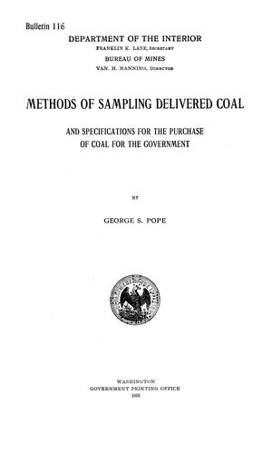 Primary view of object titled 'Methods of Sampling Delivered Coal and Specifications for the Purchase of Coal for the Government'.