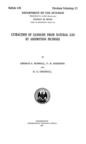 Primary view of object titled 'Extraction of Gasoline from Natural Gas by Absorption Methods'.