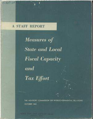 Primary view of object titled 'Measures of state and local fiscal capacity and tax effort'.