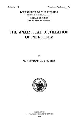 Primary view of object titled 'The Analytical Distillation of Petroleum'.