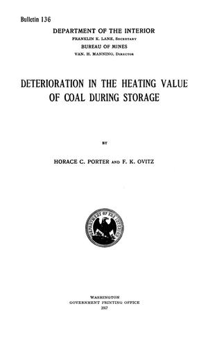 Primary view of object titled 'Deterioration in the Heating Value of Coal During Storage'.