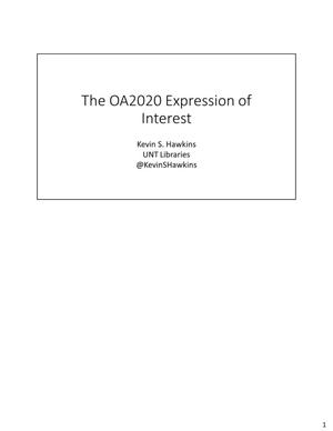 Primary view of object titled 'The OA2020 Expression of Interest'.