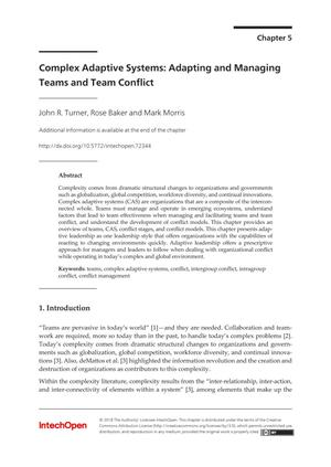 Complex Adaptive Systems: Adapting and Managing Teams and Team Conflict