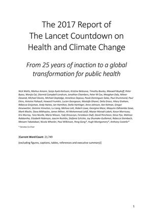 Primary view of object titled 'The 2017 Report of The Lancet Countdown on Health and Climate Change: From 25 years of inaction to a global transformation for public health'.