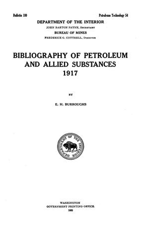 Primary view of object titled 'Bibliography of Petroleum and Allied Substances, 1917'.