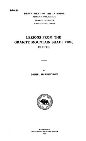 Primary view of object titled 'Lessons From the Granite Mountain Shaft Fire, Butte'.