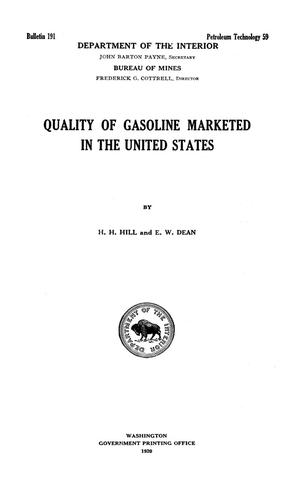 Primary view of object titled 'Quality of Gasoline Marketed in the United States'.
