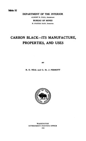 Primary view of object titled 'Carbon Black--its Manufacture, Properties and Uses'.