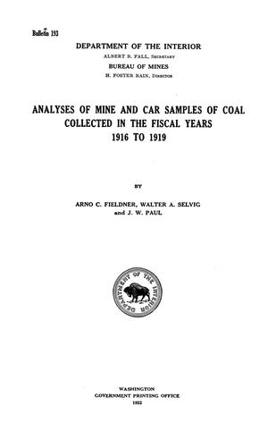 Primary view of object titled 'Analyses of Mine and Car Samples of Coal Collected in the Fiscal Years 1916 to 1919'.