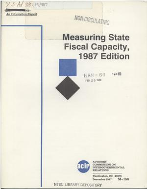 Primary view of object titled 'Measuring state fiscal capacity, 1987 edition'.