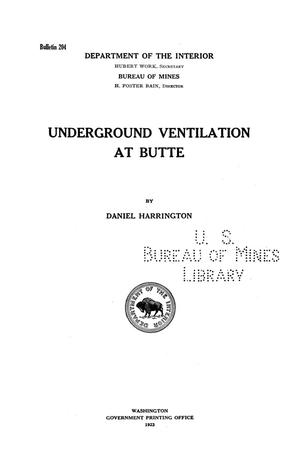 Primary view of object titled 'Underground Ventilation at Butte'.