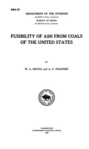 Primary view of object titled 'Fusibility of Ash from Coals of the United States'.