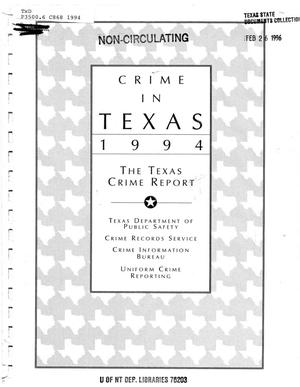 Primary view of object titled 'Texas Crime Report 1994'.