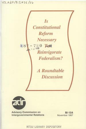 Primary view of object titled 'Is constitutional reform necessary to reinvigorate federalism? : a roundtable discussion'.