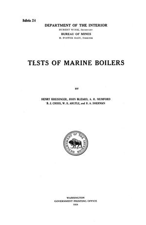 Primary view of object titled 'Tests of Marine Boilers'.