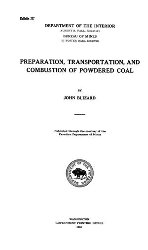 Primary view of object titled 'Preparation, Transportation, and Combustion of Powdered Coal'.