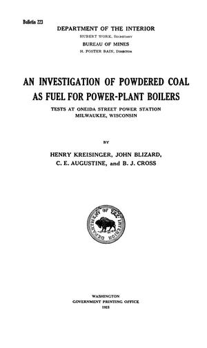Primary view of object titled 'An Investigation of Powdered Coal as Fuel for Power-Plant Boilers: Tests at Oneida Street Power Station, Milwaukee, Wisconsin'.