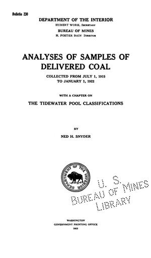 Primary view of object titled 'Analyses of Samples of Delivered Coal: Collected from July 1, 1915 to January 1, 1922, with a Chapter on the Tidewater Pool Classifications'.