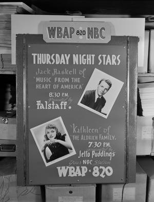 "Primary view of object titled '[WBAP ""Thursday Night Stars"" poster]'."