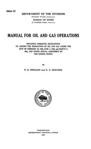 Primary view of Manual for Oil and Gas Operations [Part 1]