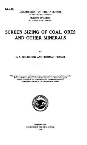 Primary view of object titled 'Screen Sizing of Coal, Ores and Other Minerals'.