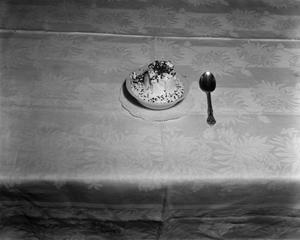 Primary view of object titled '[Bowl of dessert with spoon]'.