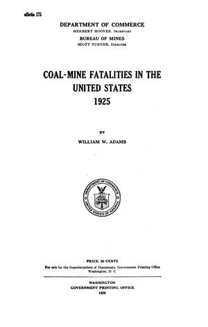 Primary view of object titled 'Coal-Mine Fatalities in the United States, 1925'.