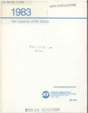 Primary view of object titled 'Tax Capacity of the States, 1983'.