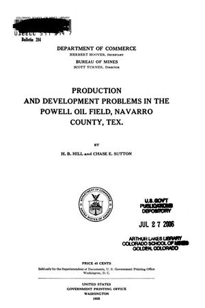 Primary view of object titled 'Production and Development Problems in the Powell Oil Field, Navarro County, Texas'.
