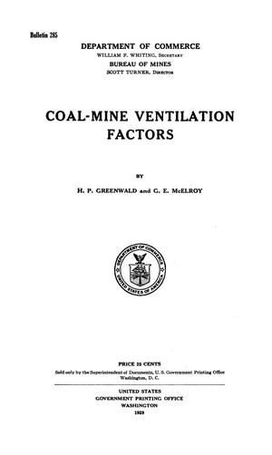 Primary view of object titled 'Coal-Mine Ventilation Factors'.