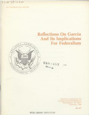 Primary view of object titled 'Reflections on Garcia and its implications for federalism'.