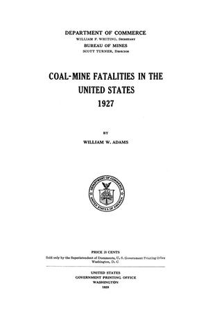 Coal-Mine Fatalities in the United States, 1927