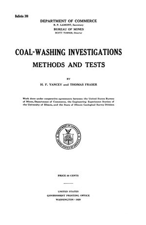 Primary view of object titled 'Coal-Washing Investigations: Methods and Tests'.